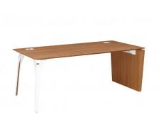 Bureau pieds panneaux et arbre métal - XENON - L170 cm - Finition merisier/blanc