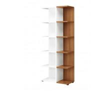 Bibliothèque - XENON - L75 x H188 - Finition merisier/blanc