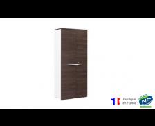 Armoire haute 2 portes - XENON - L80 x H188 - Finition chêne/blanc