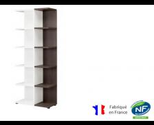 Bibliothèque - XENON - L75 x H188 - Finition chêne/blanc