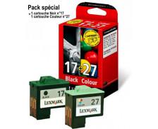 Pack 2 Cartouches d'encre LEXMARK 80D2952 Couleur 27 / Noir 17