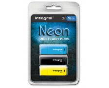 Pack de 3 Clés USB 2.0 Néon - INTEGRAL - 16 Go
