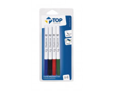 Lot de 4 feutres effaçables - TOP OFFICE - Pointe fine - 4 coloris