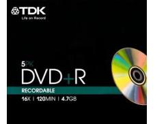 Pack 5 DVD+R 16X SLIM - TDK - 4.7Gb
