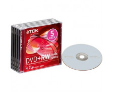 Pack 5 DVD vierges DVD+RW 4X - TDK - 4.7Gb - Réinscriptible