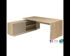 Bureau avec console gauche et pieds panneaux - VERMONT - L190 cm - Finition chêne/taupe