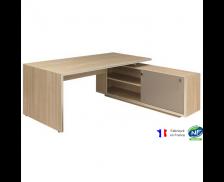 Bureau avec console droite et pieds panneaux - VERMONT - L190 cm - Finition chêne/taupe