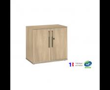 Rangement bas 2 portes - VERMONT - L80 - Finition chêne/taupe