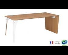 Bureau pieds panneaux et arbre métal - XENON - L190 cm - Finition merisier/blanc