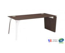 Bureau pieds panneaux et arbre métal - XENON - L170 cm - Finition chêne/blanc