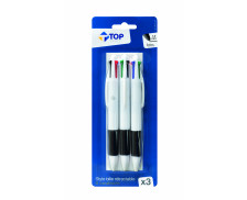 Lot de 3 stylos bille 4 couleurs - TOP OFFICE
