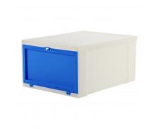 Boîte empilable avec ouverture frontale - IRIS OHYAMA - Taille M - Bleu / blanc