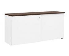 Crédence à 2 portes coulissantes - XERUS - Largeur 80 cm - Finition Blanche / Chêne Royal