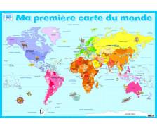 Poster éducatif recto verso Ma 1er Carte du Monde - PICCOLIA
