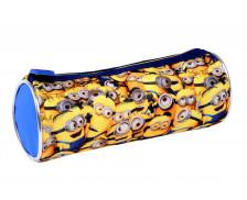 Trousse scolaire fourre-tout ronde - LES MINIONS - 1 compartiment - Jaune / Bleu