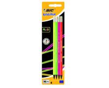 Set de 4 crayons avec gommes Evolution Fluo - BIC