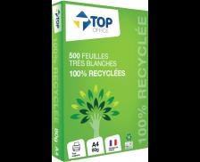 Ramette de 500 feuilles très blanches 100% recyclées - TOP OFFICE - 150CIE - Blanc