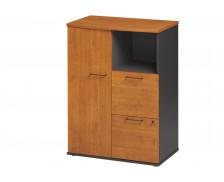 Rangement compact 1 porte 2 tiroirs L80 cm - JAZZ + - Aulne/anthracite