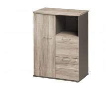 Rangement compact 1 porte 2 tiroirs L80 cm - JAZZ + - Chêne/gris foncé