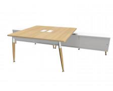Bureau 160 cm + Console - WOOD - Chêne/blanc/blanc - Panneaux de particules