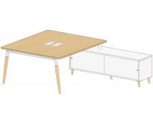 Bureau manager droit 140 cm + console - WOOD - Gris/anthracite/gris - Panneaux de particules