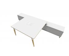 Bureau 140 cm + Console - double face - WOOD - Chêne/blanc/gris - Panneaux de particules