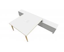 Bureau 160 cm + Console - double face - WOOD - Blanc/blanc/blanc - Panneaux de particules