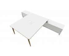 Bureau 180 cm + Console - double face - WOOD - Chêne/blanc/blanc - Panneaux de particules
