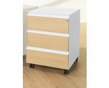 Caisson mobile 3 tiroirs L41,8 cm - WOOD - Blanc/chêne - Façade mélaminé