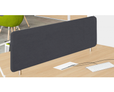 Ecran de séparation bureau simple 140 cm - WOOD - Noir - Tissu