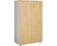 Armoire 2 portes mi-haute L80 cm - WOOD - Blanc/chêne