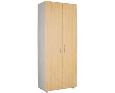 Armoire 2 portes haute L80 cm  - WOOD - Blanc/chêne