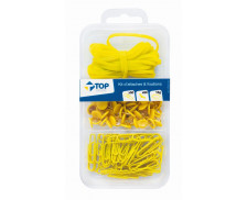 Kit de 100 Attaches - Jaune - TOP OFFICE -