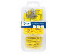 Kit de 58 Attaches - Jaune - TOP OFFICE -
