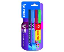 Lot de 2 + 2 stylos rollers V5 - PILOT - Assortiment de couleurs