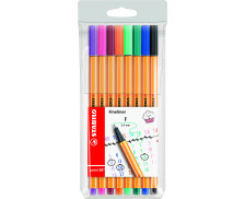 Lot de 8 stylos point 88 - STABILO - Pointe fine - Assortiment de couleurs