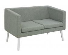 Canapé d'accueil en tissu 2 places - Bleu chiné