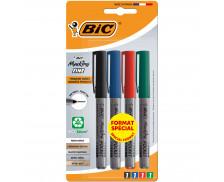 Lot de 4 marqueurs permanents 1445 - BIC - Pointe fine - 4 couleurs