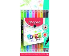 Pochette de 10 feutres Graph'Peps - MAPED - Pointe fine - Assortiment de couleurs