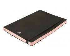 Carnet souple ligné Side - OBERTHUR - 192 pages - A5 - Noir / rose