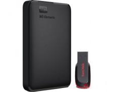 Pack Disque dur externe 1 To + clé USB SanDisk 16 Go - WESTERN DIGITAL - Noir