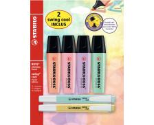 Lot de 4 surligneurs + 2 swing cool - STABILO - coloris pastel