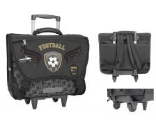 Cartable à roulettes football - TOP OFFICE - 41 cm - Noir