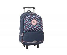 Sac à dos à roulettes aux motifs plumes - TOP OFFICE - 33 x 18 x 46 cm - Bleu/rose à motifs