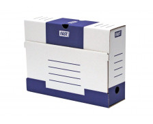 Lot de 10 boîtes à archive en carton - FAST- Dos 80 mm - Blanc/Bleu