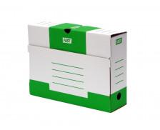 Lot de 10 boîtes à archive en carton - FAST- Dos 80 mm - Blanc/Vert