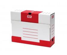 Lot de 10 boîtes à archive en carton - FAST- Dos 80 mm - Blanc/Rouge