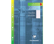 Feuillets mobiles petits carreaux - CLAIREFONTAINE - A4 - 200 pages