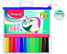 Pochette de 12 feutres effaçables Marker'pep - MAPED - Assortiment de couleurs