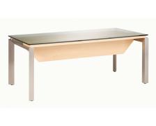 Bureau en verre, pieds métal SLIVER, largeur : 190 cm - Finition chêne/blanche brillante